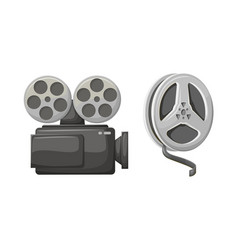 camera filming technology bobbins with tapes vector image