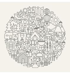 Camping Line Icons Circle vector