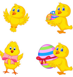 Cartoon little chick with easter egg vector