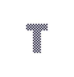 checker pattern logo letter t vector image