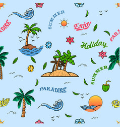 cheerful summer holiday seamless pattern vector image