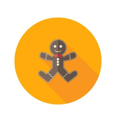 Christmas Gingerbread Man with Red Bow Flat Icon vector image