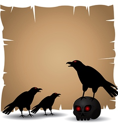 Crazy Crow on skull and old paper vs vector image