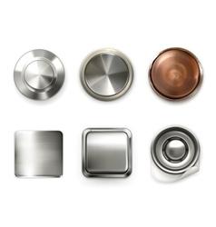 Detailed metal buttons set vector