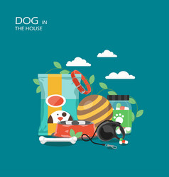 dog in the house flat style design vector image