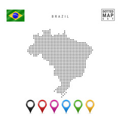 Dotted map brazil simple silhouette brazil vector