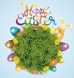 Easter Eggs and Bunny with Grass Background vector image