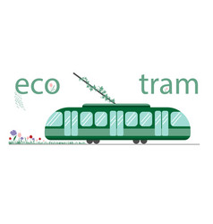 eco-friendly public transport tram the tram is vector image