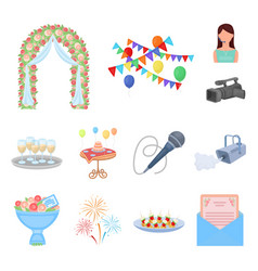 Event organisation cartoon icons in set collection vector