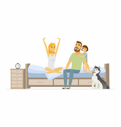 Family in the morning - cartoon people character vector
