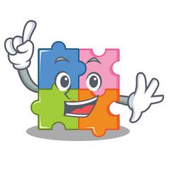 Finger puzzle mascot cartoon style vector