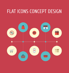 Flat icons trolley bag present and other vector