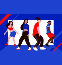 Four dancers rehearsing hip-hop or street dance vector