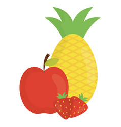 fresh fruits healthy icons vector image