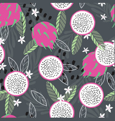 fruit seamless pattern dragon fruit with leaves vector image