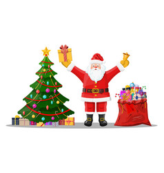 funny santa claus character and christmas tree vector image