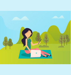 Girl using laptop and phone in park gadget vector
