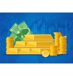 Gold bars money banknotes and dollar coins vector image
