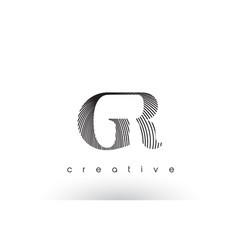 Gr logo design with multiple lines and black vector