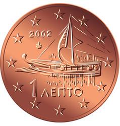 Greek money bronze coin one euro cent vector