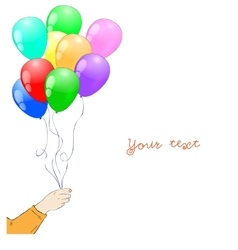 Hand with baloons vector