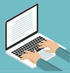 hands on cnotebook keyboard vector image