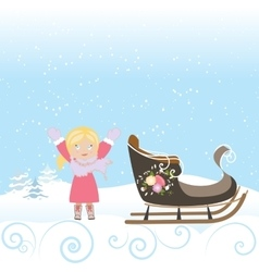 Happy Child Sled Winter Christmas Snow Snowflake vector image