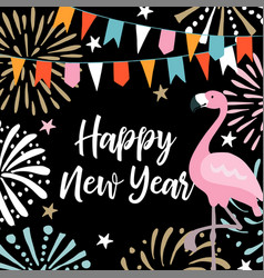 Happy new year greeting card invitation with hand vector