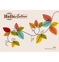 Hello autumn text Tree branch with leaves vector image