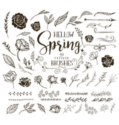 hello spring floral design elements vector image