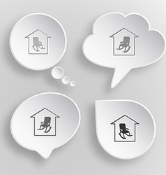 Home comfort White flat buttons on gray background vector