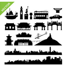 Hong kong landmark and skyline silhouettes vector