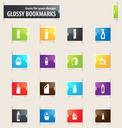 Household chemicals bookmark icons vector