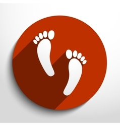 Human foot print web flat icon vector
