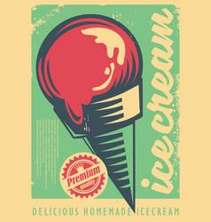 ice cream retro poster design vector image