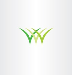 Icon logo green grass symbol vector
