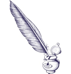 Inkwell and quill pen vector