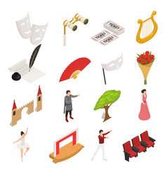 Isometric theatre icons collection vector