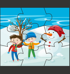 jigsaw puzzle game with kids and snowman vector image