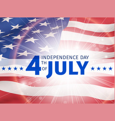 July fourth independence day with flag of usa vector