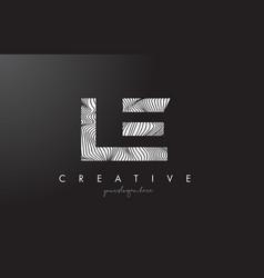 Le l e letter logo with zebra lines texture vector
