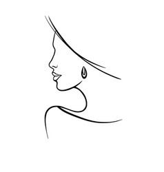 Line drawing a beautiful woman 2 vector
