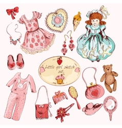 Little girl accessories colored items set vector