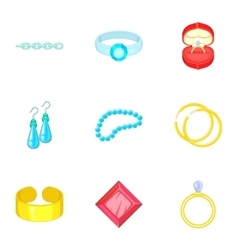 Luxury jewels icons set cartoon style vector