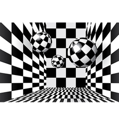 Magic balls in checkered room vector