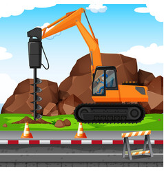 man digging hole with drill at the construction vector image