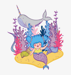 Mermaid woman with narwhal and seaweed plants vector