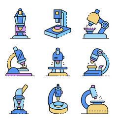 microscope icons set line color vector image