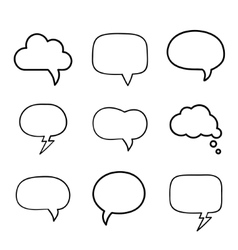 Minimal hand-drawn speech bubbles set vector image