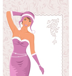 Miss claus with greeting card vector